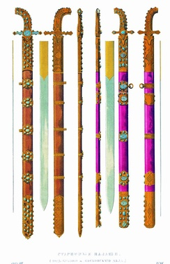 Backswords, inlaid with turquoise. Russia, 17th century.
