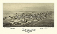 Edmond, Oklahoma Territory, 1891. Drawn by T.M. Fowler.
