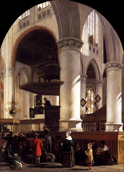 Interior of the Oude Kerk at Delft during a Sermon, 1651