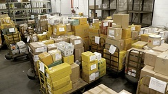 Packages awaiting inspection at the International Mail Facility in JFK airport