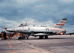 "F-100D of the 417th TFS, 50th TFW post January 1965 (""buzz number"" i.e., FW-238 painted over)"
