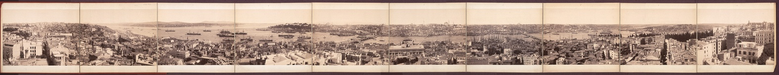 A panoramic view of the Ottoman era city from Galata Tower in the 19th century (image with notes)