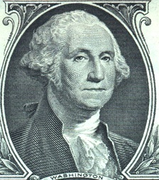 The image of George Washington appears in numerous forms, found on currency (shown here on the $1 bill), statues, monuments, postage and in textbooks.