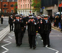 The officers of HMS Forward on parade in Birmingham on 11 November 2010