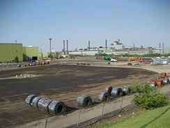View of ArcelorMittal Dofasco's industrial facilities on Burlington Street. The facilities produce 30 percent of Canada's flat-rolled sheet steel.