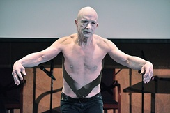 Jay Hirabayashi performs a butoh dance piece in memory of his parents, Gordon and Esther Hirabayashi, at a Day of Remembrance event in Seattle, Washington, February 22, 2014.