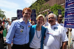 Kennedy (l–r) campaigning with Elizabeth Warren and his predecessor Barney Frank in 2012