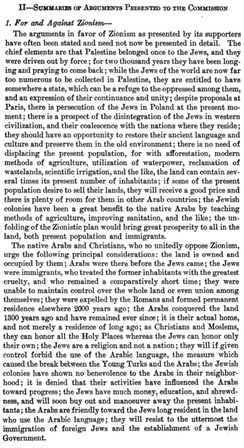 During the 1919 Paris Peace Conference, an Inter-Allied Commission was sent to Palestine to assess the views of the local population; the report summarized the arguments received from petitioners for and against Zionism.