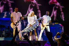 "Gaga playing on a seahorse-shaped keytar while performing ""Just Dance"""