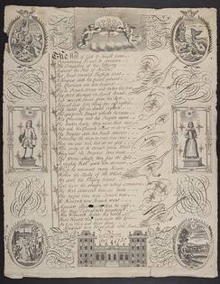 "A writing sheet produced by student Anne Passmore, showing the biblical story of Jonah depicted in images and poetry; the first four lines are from Francis Quarles' Argument that begins his poem ""A Feast for Wormes."""
