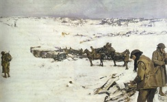 Mametz, Western Front, a winter scene, painting by Frank Crozier