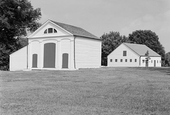 Carriage house (left) and stable (right) at Melrose in Natchez, Mississippi