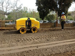 Multiquip RX1575 Rammax Sheepsfoot Trench Compaction Roller on the jobsite in San Diego, CA