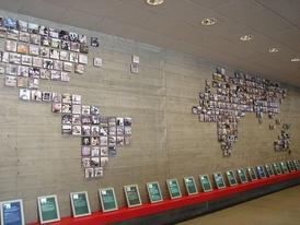 A world map showing all the truth and reconciliation commissions in Museum of Memory and Human Rights, Santiago, Chile.