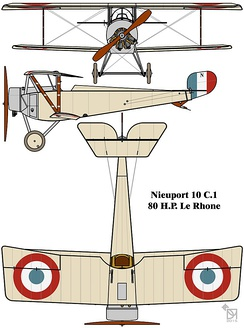 Drawing of definitive Nieuport 10 C.1 fighter