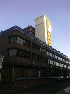 Norfolk Tower on Surrey Street in Norwich. BBC Radio Norfolk was based on its ground floor from 1980 until 2003.
