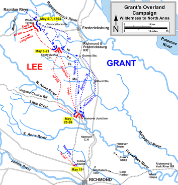The Overland Campaign from the Wilderness to the North Anna River, May 5–26, 1864   Confederate   Union