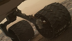 Curiosity's battered wheel after several years of exploration, 2017