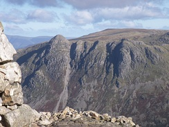 Pike of Stickle on the left, from the summit cairn of Pike of Blisco. The central scree run has produced many rough-out axes.