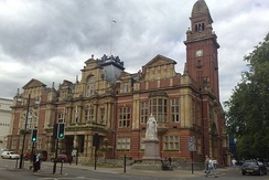 The town hallwith Queen Victoria's statue