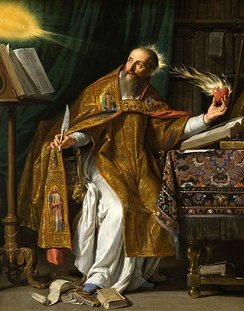 Saint Augustine of Hippo wrote Confessions, the first Western autobiography ever written, around 400. Portrait by Philippe de Champaigne, 17th century.