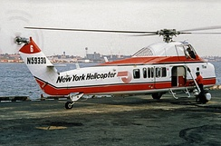 S-58T of New York Helicopter at 34th Street Helicopter pad in 1987