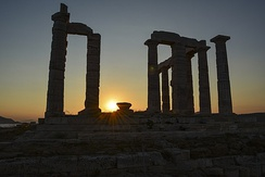 View of the Temple of Poseidon in the sunset