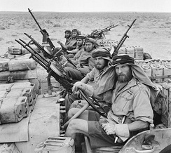 """L"" Detachment SAS in armed jeeps, during the North African campaign of the World War Two"