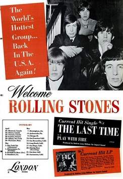 A black and white trade ad for the 1965 Rolling Stones' North American tour. The members of the band are sitting on a staircase with either their hands clasped, or arms folded, looking at the camera. From left: The front row contains Brian Jones, Bill Wyman; the second row contains Charlie Watts and Keith Richards; the third (and final) row contains Mick Jagger.