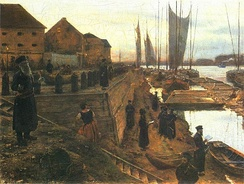 Jewish Feast of trumpets (Polish: Święto trąbek) at the banks of the Vistula, Aleksander Gierymski, 1884