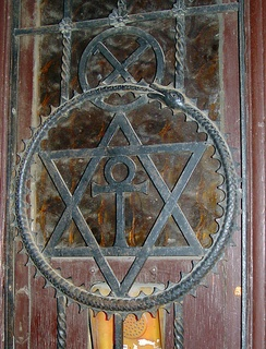 The Theosophical seal as door decoration in Budapest, Hungary