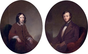 Portraits of Elizabeth Barrett Browning and Robert Browning.
