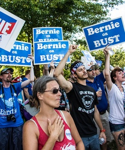 Bernie or Bust protesters (with some carrying Bernie or Bust picket signs) at the Wells Fargo Center during the roll call vote when nominating Hillary Clinton at the DNC