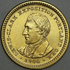 Lewis depicted on the 1904–05 commemorative Lewis and Clark Exposition dollar