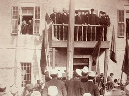 Ismail Qemali and his cabinet during the celebration of the first anniversary of independence in Vlorë on 28 November 1913.