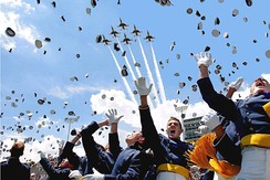 Air Force Academy cadets celebrate after graduation.