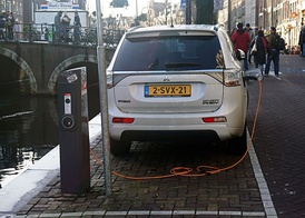As of December 2016[update], the Outlander PHEV is the all-time top selling plug-in electric car in the Netherlands.[76] Shown charging in Amsterdam.