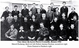 A class at the Lycée Pierre-Corneille, Rouen 1902, artists Robert Antoine Pinchon (second row, right) and Marcel Duchamp (third row, left)