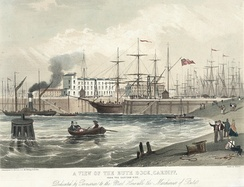 Jubilee dock, Cardiff, from the eastern side (1849)