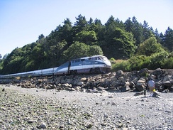 Talgo equipment on the state-funded Amtrak Cascades in 2006. Amtrak partnerships with state governments grew throughout the early 2000s