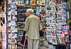 International newspapers on sale in Paris, France