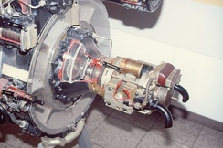 The Riedel APU installed on a preserved BMW 003 jet engine, with what appears to be an electric starter for the Riedel APU.