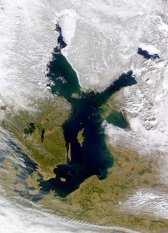 Satellite image of the Baltic Sea in a mild winter
