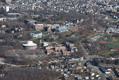 Aerial view of campus in Waltham, Massachusetts