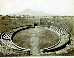 The Amphitheatre of Pompeii in the 1800s, one of the earliest known Roman amphitheatres