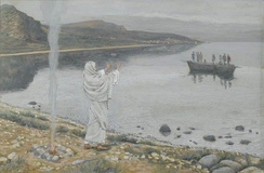 Jesus appears on the shore of Lake Tiberias  by James Tissot