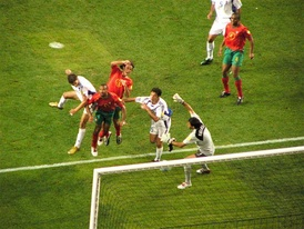 Portugal lost the Euro 2004 final 1–0 to Greece with a header from Angelos Charisteas (pictured).
