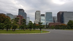 Chiyoda office buildings from the imperial palace grounds