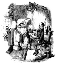Black and white drawing of Scrooge and Bob Cratchit having a drink in front of a large fire