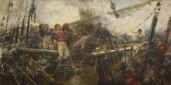 Churruca's death at the Battle of Trafalgar. Basque navigators key for the navy of Castile and later the Spanish Navy.